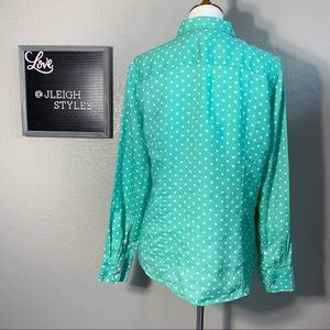 J. Crew Tops - J. Crew Perfect Linen Green White Polka Dot Shirt